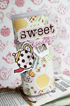 Super cute altered Crystal Light container by @Shelley Haganman using @Fancy Pants Designs new It's Time for Spring Collection!