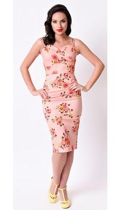 Stop Staring! Pin-Up Pink Digital Floral Arana Wiggle Dress Vintage Tea Dress, Purple Floral Dress, Vintage Dresses, Retro Dress, Floral Dresses, Pink Purple, Pin Up Dresses, 50s Dresses, Dresses For Sale