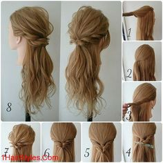 DIY tutorials on how to style your hair in 3 minutes. Quick and easy hairstyles. Techniques to style your hair and look elegant in no time. Pretty Hairstyles, Braided Hairstyles, Amazing Hairstyles, Simple Hairstyles, Stylish Hairstyles, Wedding Hairstyles, Hairstyles To The Side, Hairstyle Ideas, Semi Formal Hairstyles