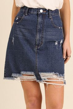 This cute jean skirt is super casual and fun! Pairs great with just about  anything and fits & flatters all shapes. Distressed wear compliments the  classic ...