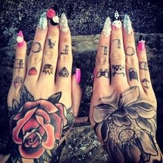 Dollface knuckle tattoo