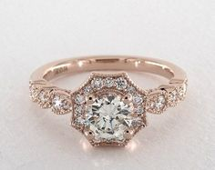 Carat Round Cut Vintage Engagement Ring in Rose Gold Princess Cut Engagement Rings, Round Cut Engagement Rings, Beautiful Engagement Rings, Engagement Ring Styles, Antique Engagement Rings, Rose Gold Engagement Ring, Designer Engagement Rings, Halo Engagement, Art Deco Engagement Rings