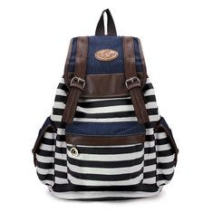 Women Unisex Backpack Canvas Stripe Leisure Bags Students School Bag