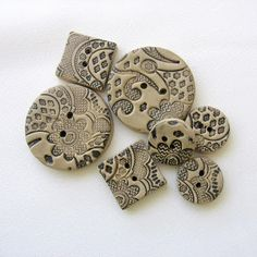 Making Lace Polymer Clay Buttons - Viktoria Slutsky - tutorial