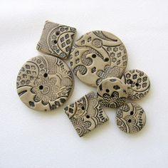 Making Lace Polymer Clay Buttons - Viktoria Slutsky - tutorial