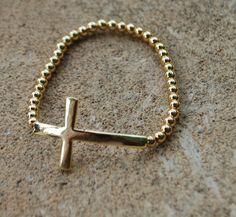 Side Cross Stretch Bracelet Gold by StringofLove on Etsy, $12.00