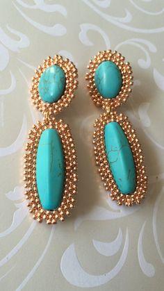 3d95a815fa3f Beadwork Post Earrings Turquoise Dangle Earrings