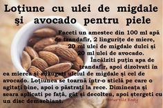 Loţiune cu ulei de migdale şi avocado pentru piele Skin Care Tips, Health And Beauty, Dog Food Recipes, Herbalism, Avocado, Beauty Hacks, Cancer, Hair Beauty, Homemade