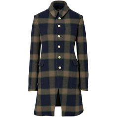 JOSEPH Navy/Olive Checked Wool Coat ($1,245) found on Polyvore
