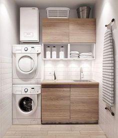 Modern laundry room ideas for small spaces minimalist home design, modern minimalist house, small Laundry Room Storage, Laundry Room Design, Kitchen Design, Kitchen Ideas, Kitchen Decor, Bathroom Organization, Makeup Organization, Diy Kitchen, Kitchen Interior