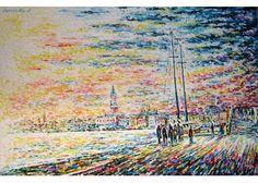 P231-07  Venezia dalla riva degli schiavoni #pittura a #olio, #paesaggio, #Venezia, olio su #tela, #figurativo