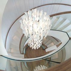 【 studio éL 】✖ Aura, the stunning stairway light by Axo Light. Interior design by Thomas Diemer. Location: Berlin, Germany