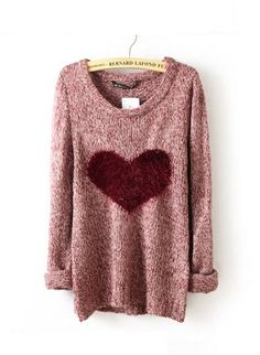 Wine Red Long Sleeve Love Heart Sweater | fashionstyle - Clothing on ArtFire. $30.00