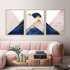 Blush pink navy gold printable art Set of 3 Downloadable Decoration, Art Decor, Diy Home Decor, Room Decor, Abstract Canvas, Canvas Art, Canvas Poster, Woodland Nursery Decor, Animal Nursery