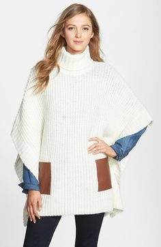 MICHAEL Michael Kors Faux Leather Pocket Turtleneck Poncho available at #Nordstrom