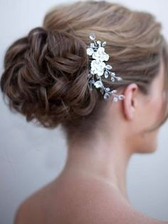 Romantic Ceramic Flower Hair Comb by Hair Comes the Bride  www.HairComestheBride.com