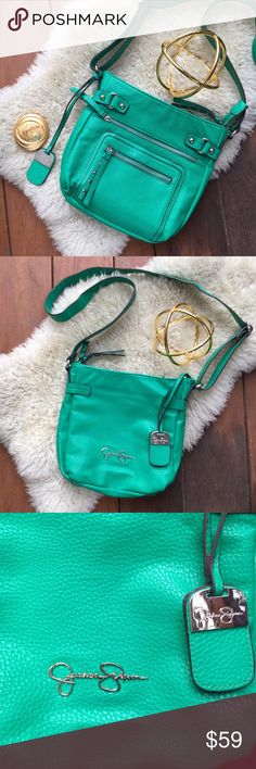 {jessica simpson} Kelly Green Zipper Crossbody EUC! Only used once. Gorgeous green cross body bag. Perfect for any Irish girl and St. Patrick's Day! One side has two zipper pockets, and other has JS logo. Long cross body strap. Little stud zipper details are rebellious yet feminine. Measurements to be posted ASAP! Offers warmly welcomed! Jessica Simpson Bags Crossbody Bags