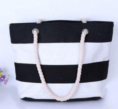 2017 Women Beach Canvas Bag Fashion Color Stripes Printing Handbags Ladies  Large Shoulder Bag Totes Casual ac854793ee