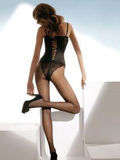 Collant fin voile culotte marquée femme noir beige Gatta emanuella 15 Den T2 2336bf4c885