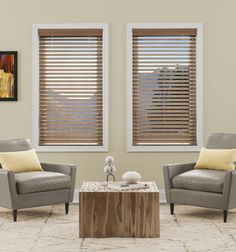 Kellie Clements Simply Chic Faux Wood Blinds are made from a blend of real American hardwood and advanced thermal polymers for blinds of unparalleled beauty and durability. Window Blinds & Shades, Blinds For Windows, Blinds Design, Faux Wood Blinds, Wood Windows, Wood Plans, Window Coverings, Window Treatments, Home Improvement Projects