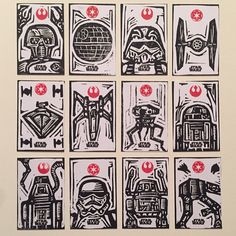 "Block print trading cards for Star Wars: Hi-Tek series by Topps. each card is 2""x3"" #linocut #printmaking #tradingcards #topps #starwars #attacktheplanet by brianreedy"