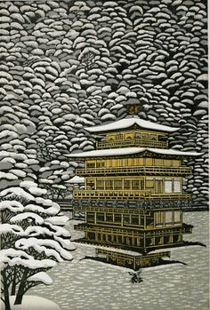 Ray Morimura - Kinkaku-ji In Snow - the mirror reflect on the water/ice is wonderful. So detailed and yet peaceful.