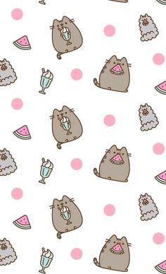 pusheen the cat iphone wallpaper Whats Wallpaper, Kawaii Wallpaper, Cool Wallpaper, Pattern Wallpaper, Cute Wallpaper Backgrounds, Cute Wallpapers, Wallpaper Wallpapers, Kawaii Drawings, Cute Drawings