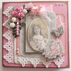Excellent idea for a Mother's Day card. Or the cover of a mini album. this one for lexi Shabby Chic Cards, Heartfelt Creations, Mothers Day Cards, Card Making Inspiration, Pretty Cards, Flower Cards, Vintage Cards, Scrapbook Cards, Homemade Cards