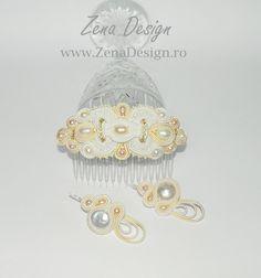 New! Set bijuterii mireasă – cercei şi pieptene păr – cercei alb şi ivory cu perle, piptene păr alb cu ivory şi perle – Zena Design