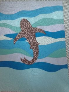 Ocean Life Baby Quilt - Shark in the Deep Blue Sea by sandboxquilts on Etsy https://www.etsy.com/listing/230373922/ocean-life-baby-quilt-shark-in-the-deep