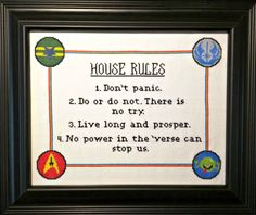 Sci-fi House Rules Cross Stitch Pattern by CraftTimeinArkham on Etsy https://www.etsy.com/listing/222981208/sci-fi-house-rules-cross-stitch-pattern