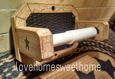 Primitive Crackle Tan & Black Star Wood Toilet Paper Holder ~ Country Decor #NaivePrimitive