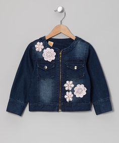 Dark Wash Crocheted Flower Denim Jacket - Toddler & Girls by Mia Belle Baby