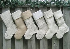 Christmas Stockings French Script Burlap by theCottageWorkroom