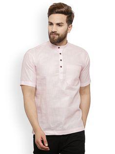 Shop akavya Men Pink Solid Straight Kurta from Shoprapy ! Collarless Shirt Men, Casual Outfits, Men Casual, Sherwani, Ethnic Fashion, Pajama, Traditional, Pink, Mens Tops