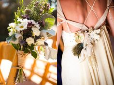 the bouquet!--http://ruffledblog.com/hippie-meets-jane-austen-style-rustic-barn-wedding-with-old-lace-tablecloths-by-aaron-shintaku/