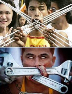 For some people, this would be totally extreme, but for local Thais, this is completely normal. They ignore the pain because this ritual is a rite of passage to adulthood. This is an annual ritual performed in public to announce to the whole world that they have become adults.