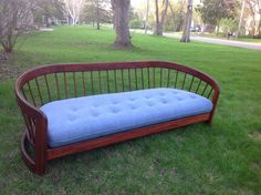 ANTIQUE VINTAGE WOODEN RUNG CUSTOM ? COUCH SOFA DAYBED Refinished #RungBack