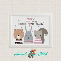 Cross stitch animals Birth announcement cross stitch pattern pdf baby sampler new baby girl Funny banny bear fox easy embroidery pattern Baby Cross Stitch Patterns, Baby Girl Patterns, Cute Cross Stitch, Cross Stitch Animals, Fox Embroidery, Embroidery Patterns, Baby Gifts To Make, Elephant Birth, New Baby Girls