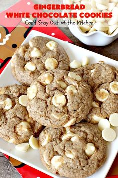 Gingerbread White Chocolate Cookies use only 5 ingredients! Gingerbread cake mix, oil, flour & white chocolate chips. Perfect for holiday baking.