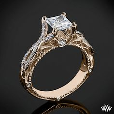 Rose Gold Verragio Pave Twist Diamond Engagement Ring from the Venetian Collection.