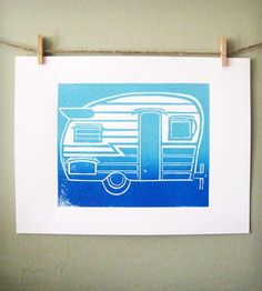Retro Camper Print - Aqua & Blue by 30 Silent Mockingbirds on Scoutmob Shoppe