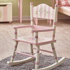 White Wooden Rocking Chair, Childrens Rocking Chairs, Childs Rocking Chair, Painted Chairs, Painted Furniture, Furniture Refinishing, Kids Vanity Set, Porches, Kids Playroom Furniture