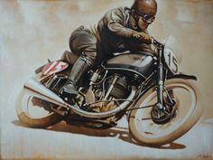 Vintage motorcycle racing at its finest. Norton Motorcycle, Motorcycle Posters, Motorcycle Art, Bike Art, Women Motorcycle, Vintage Bikes, Vintage Motorcycles, Vintage Cars, British Motorcycles