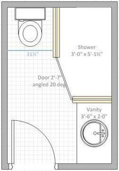 I have a 6 x 9 space for bathroom. The toilet must be on one of the 6 ft space and door on opposite side. want efficient layout and best size of vanity & shower stall #bathroomshowerstallstyle #bathroomshowerstallvanities #bathroomshowerstallspaces
