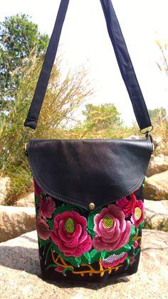 Leather Black Boho Floral Bag Embroidery Bag Hmong