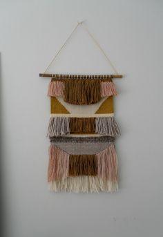 Handmade woven wall hanging. Made from chenille, un-spun Tasmanian wool, woollen rug yarn, silk, merino & linen. Browns, mustard, white, grey, cream,