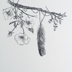 earth, flowers, branch, feather, kim krans