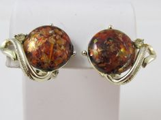 Vintage Signed CORO Amber Confetti & Rhinestone Gold Tone Clip On Earrings