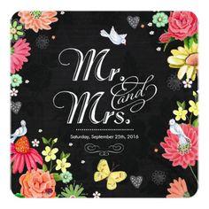 Bright Floral Chalkboard   Wedding Invitations